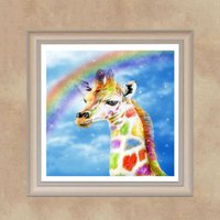 pinturas a óleo panda venda por atacado-Nova Moda DIY Resina Completa Pintura Diamante Girafa Rainbow Ponto Cruz Bordado Casa Decoração Da Parede Pintura