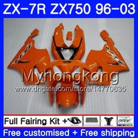 Wholesale kawasaki zx7r orange for sale - Group buy Body For KAWASAKI NINJA ZX R ZX750 ZX7R HM ZX ZX R ZX ZX R full Gloss orange Fairing