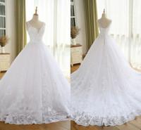 imágenes de vestidos de novia vintage al por mayor-Precioso vestido de boda del vestido de bola con el cordón Vestido De Novia Princesa Vestidos de boda del vintage Imagen real vestido de novia