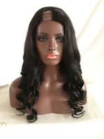 Wholesale human hair super long wig - Natural Color Super Wave Human Hair Wig U Part Wig Loose Wave Brazilian Hair Wigs For Black Women