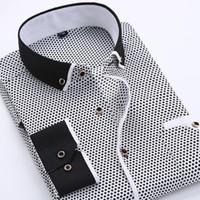 robe chemise homme coupe slim achat en gros de-Hommes Chemises À Manches Longues Imprimé Hommes Mode Casual Slim Fit Mâle Social Business Shirt Doux Confortable Marque Hommes Vêtements Taille S-4XL