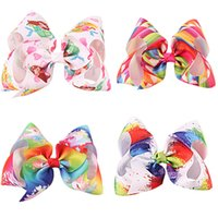 Wholesale princess paint - 8 Inch Large Hair Bow Hearts Paint Splatter Hair Clip Party Supplies Princess Fairy With Rhinrstone Centre