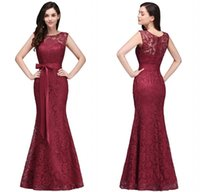Wholesale Elegant Dresses Floor Length - 2018 Designer Burgundy Lace Evening Dresses Elegant Mermaid Prom Dress with Sash Wedding Guest Holiday Formal Gowns CPS720
