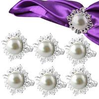 décorations en strass pour les mariages achat en gros de-6pcs perle serviette anneaux luxe strass serviette anneaux pour les mariages décorations de fête table décoration accessoires lxy