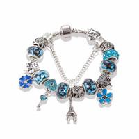 murano stil kolye toptan satış-Avrupa Tarzı 925 Ayar Gümüş Eyfel Kulesi Kolye Charm Bilezikler marka logo Kadınlar Murano Boncuk Bilezik Takı Yapımı