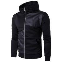 deri patchwork hoodie toptan satış-Erkek Hoodies Uzun Kollu Patchwork Hoodie Streetwear Balıkçı Yaka Kazak Kapşonlu Pamuk Deri Hip Hop Kazak İngiltere Stil Sıcak Satış