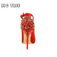 Wholesale Thin High Heels Laces - New Women Luxury Crystal Pumps 10cm Thin High Heels Female Flock Pumps Scarpins Pointed Toe Party Bridal Wedding Shoes For Bride