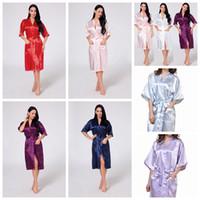 c6dfa7f188 Wholesale silk kimono robe for sale - 11 cColors Women Silk Solid Robe  Bridal Wedding Bridesmaid