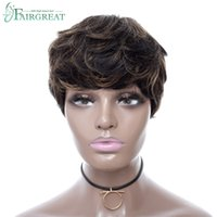 Wholesale layered black wig - Fairgreat Short Layered Wavy Straight Human Hair Wigs For Black Women Pixie Cute Cut Glueless Natural Hair Wigs FS1B 30 Color