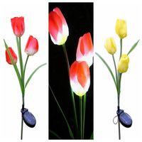 Wholesale led tulip light - Simulation LED Solar Power Flower Light Waterproof Outdoor Led Lighting Garden Yard Lawn Decorative Lamp 3 Heads Tulip DDA317