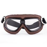coussinets pour lunettes achat en gros de-Cuir Marron Doux Rembourré Vintage Aviateur Pilote Cruiser Steampunk Lunettes Moto Racing Lunettes Aviateur Pilote Casque lunettes