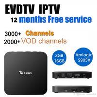 Wholesale Usa French - TX5 pro 2+16GB Android TV BOX with EVDTV IPTV ARABIC Greek Turkish French Italy France UK USA Brazil Latin IPTV box KD 17.3 h.265 4k Video