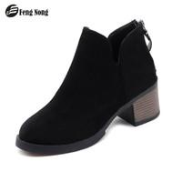botas de couro simples venda por atacado-Fengnong Mulheres Botas Zip Aberto Simples Bonito Sapatos Da Moda Inteligente da Menina Macio Shinny Couro Para A Primavera Outono Botas WBT126