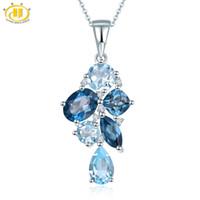 ingrosso pietra naturale della collana blu-Hutang London Blue Topaz Pendant Natural Gemstone Solid 925 Sterling Silver Necklace Fine Fashion Stone Jewelry Accessori regalo