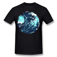 pintura abstracta de las olas del océano al por mayor-Más nuevos hombres Algodón Pintado abstracto artístico maverick wave ocean art camiseta Hombres Cuello Redondo Blanco Camisetas de manga corta Camisa Talla grande Personalidad