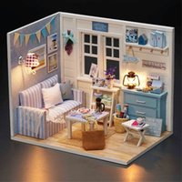 Wholesale 3d Wooden Puzzle House - Fresh Sunshine Handmade Doll House DIY Miniature 3D Wooden Puzzle Dollhouse Miniaturas Furniture Toys For Birthday Gift