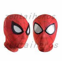 красные маски паука оптовых-Железный Человек-Паук маска косплей костюм 3D печати лайкра спандекс Маска красный / Красный взрослых размеры партии поставки