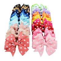 cintas de grosgrain lunares punteados al por mayor-20 colores nuevos bebés niñas horquillas pinzas para el cabello Grosgrain cinta lunares arcos con clips Accesorios para el cabello Baby Bow Barrette Headwear KH209