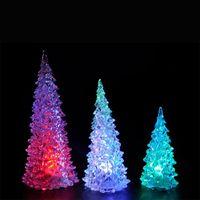 Wholesale mini plastic trees resale online - Modern Mini LED Lights Colorful Christmas Trees Shape Night Lamp Crystal Plastic Acrylic Light Home Party Gift Decor zj B