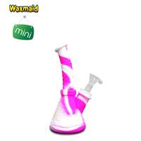 Wholesale free shipping for shisha hookah for sale - Group buy Pipe Smoking Pipe Waxmaid Glass Bong Portable Pink Dab Rig Water Pipe Mini Tobacco Hookah for Shisha Wax