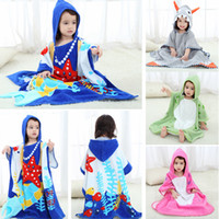 Wholesale home clothes nightgown online - Baby cartoon animal bathrobe Kids Hooded bath tow Robes dinosaur model Nightgown Childrene home clothing AAA978