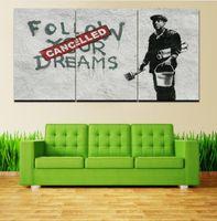wohnzimmer gemälde zum verkauf großhandel-Verkauf Keine Gemälde Cuadros Hot 3 Stücke Banksy Wandkunst Moderne Hd Bild Home Decoration Wohnzimmer Leinwanddruck Malerei