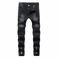 parche slim fit jeans al por mayor-De calidad superior 2018 Moda Casual slim Fit hip hop streetwear vaquero Hombres vaqueros de los hombres agujero negro parches de los hombres cremallera pantalones vaqueros