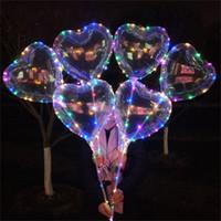 globos en forma de bola al por mayor-Amor en forma de corazón Globos de flash Luces LED chispa Iluminación Bobo Ball Glitter Globo intermitente Globos de aire decoración de navidad 2019