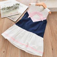 Wholesale Floral Tanks - New Arrival Girl clothing Kids sleeveless pink blue white color patchwork o-neck tank dress kids girl dress soft comfortable dress