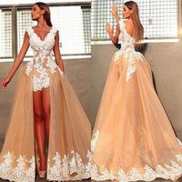 Wholesale Sexy Mini Beach Wedding Dress - 2018 Sexy Chic Sheath Wedding Dresses With Removable Train V Neck White Lace Applique Mini Hi Lo Short Bridal Gowns