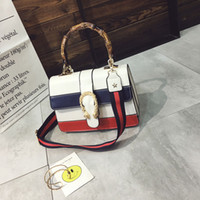 Wholesale Plate Shoulder - Bamboo Tote Bag Mixed Colors Two Tone PU Leather Top-handle Bag Fresh Style Gold Plated Lock Flip Hard Cover Single Strap Shoulder Bag