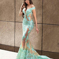 marineblauen kristall perlen trägerlosen kleid großhandel-Mermaid Prom Kleider Off-the-Shoulder Sleeveless Spitze Appliques Abendkleider Lange vestidos de fiesta Longo Dubai Frauen Party Kleid