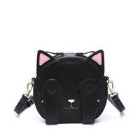 Wholesale leather blindfolds - Korean Fashion Cat Blindfold PU Leather Designer Shoulder Bag For School Kids Messenger Bag In Women