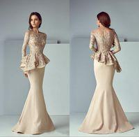 vestidos de fiesta árabe al por mayor-Champagne Lace Stain Peplum Wear Vestidos de baile 2019 Sheer Neck Manga larga Dubai Arabic Sirena Larga noche Vestidos formales