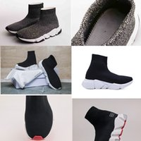 Wholesale women s fashion socks - Name Brand triple S Unisex Runnin Shoes Flat Fashion Socks Boots Woman New Slip-on Elastic Cloth Speed Trainer Runner Man Shoes Outdoors