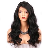 ingrosso frontale medio pizzo-360 parrucche anteriori del pizzo dei capelli umani per le donne nere Wave naturale di colore naturale Remy brasiliano 360 parrucche del pizzo Cap media