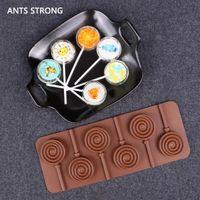 lolipop kalıpları toptan satış-Karıncalar güçlü 6 ızgaraları silikon çikolata kalıp / kek lolipop kalıp kar tanesi donut şekli aking malzemeleri