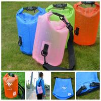 Wholesale waterproof bag 5l - Floating Boating bag outdoor Camping bags 5L Outdoor Waterproof Dry Folding portable Bucket bag Drifting rowing boat bags KKA4990