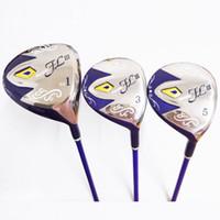 бесплатные игры для гольфа оптовых-New womens Golf wood set FL III Golf driver+fairway Wood clubs with Graphite shaft L flex and cover Free shipping