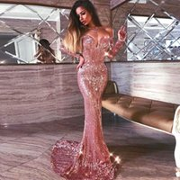 Wholesale Rose Water Cocktail - Rose Gold Sequined Mermaid Prom Dresses Off The Shoulder Sexy Long Sleeves Evening Dress Long Zipper Back Custom made Cocktail party Gowns