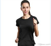 camisas de yoga para mujeres al por mayor-Deportes corriendo camiseta mujer cuello redondo manga corta servicio de yoga servicio de fitness secado rápido transpirable 2017 nuevo