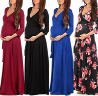 Wholesale Pregnant Women Maxi - 2018 New Cheap Pregnant Long Sleeve Evening Dress Women Long Maternity Dress Gown Summer Props Maxi Casual Dress Cocktail MC1695