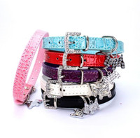 Wholesale large blue crystal pendant - Crystal Pendant Pet Dog Collar Puppy Cat Pet Buckle Dogs Leads Neck Strap Animal Pet Accessories Blue Red Black White Pink