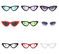 óculos bonitos para mulheres venda por atacado-Peekaboo bonito sexy retro cat eye sunglasses mulheres pequeno preto branco 2018 triângulo vintage barato óculos de sol vermelho feminino presentes