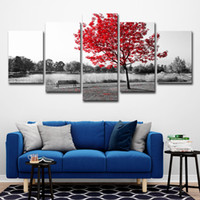 Wholesale red scenery paintings for sale - Group buy Canvas Paintings HD Prints Home Decor Wall Art Pieces Red Tree Art Scenery Landscape Poster For Living Room Pictures