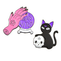 Wholesale wholesale witch balls online - New Bad Witch Crystal Ball Skeleton Black Cat Brooches Pins for Women Mens Backpack Hat Shirt Badge Jewelry Broach European Style