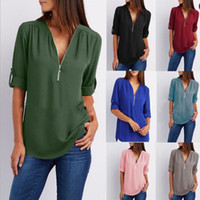 Wholesale Working Clothes Styles For Women - Casual Style V Neck Long Sleeve Zipper Sexy Chiffon Tops Blouses for Ladies Plus Size Women Work Wear Clothing