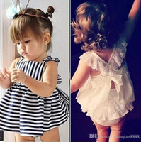 top selling kids clothes Australia - Ins Hot Sell Baby Kids Clothing Adorable Girls Clothes Princess White Blue Dress + PP Pans 2pcs Sets Babies Tops Pants Outfits Lovely
