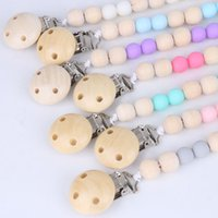 Baby Wood Bead Pacifier Chain Clips with Cover Foreign Trade Hand Made Natural Infant Gracious Holder