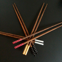 Wholesale Reusable Chopsticks - Wood Chopsticks Embedded Diamond Decoration Reusable Alloy Chopsticks Party Gifts